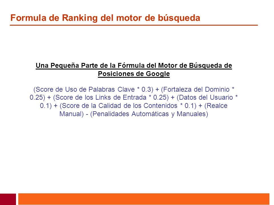 Formula de Ranking del motor de búsqueda Una Pequeña Parte de la Fórmula del Motor de Búsqueda de Posiciones de Google (Score de Uso de Palabras Clave