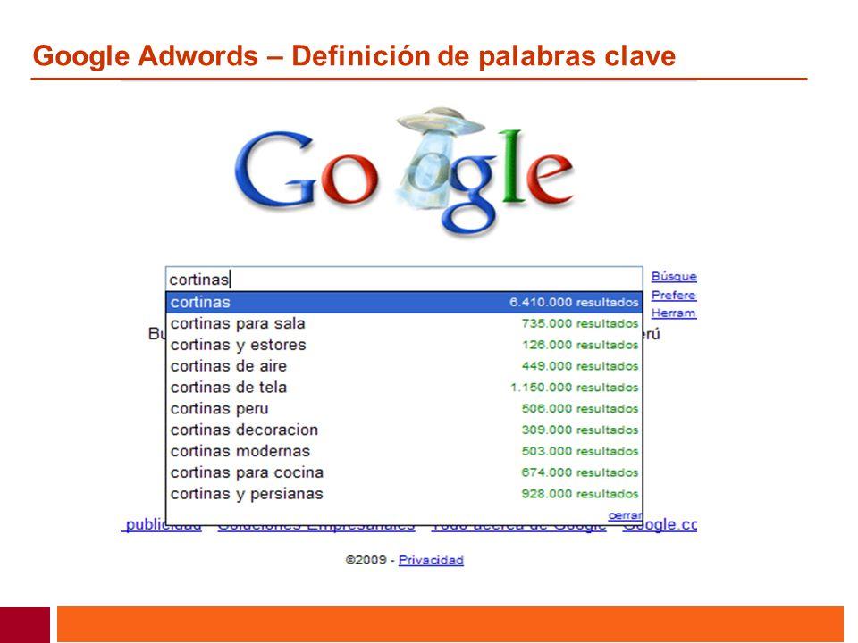 Google Adwords – Definición de palabras clave