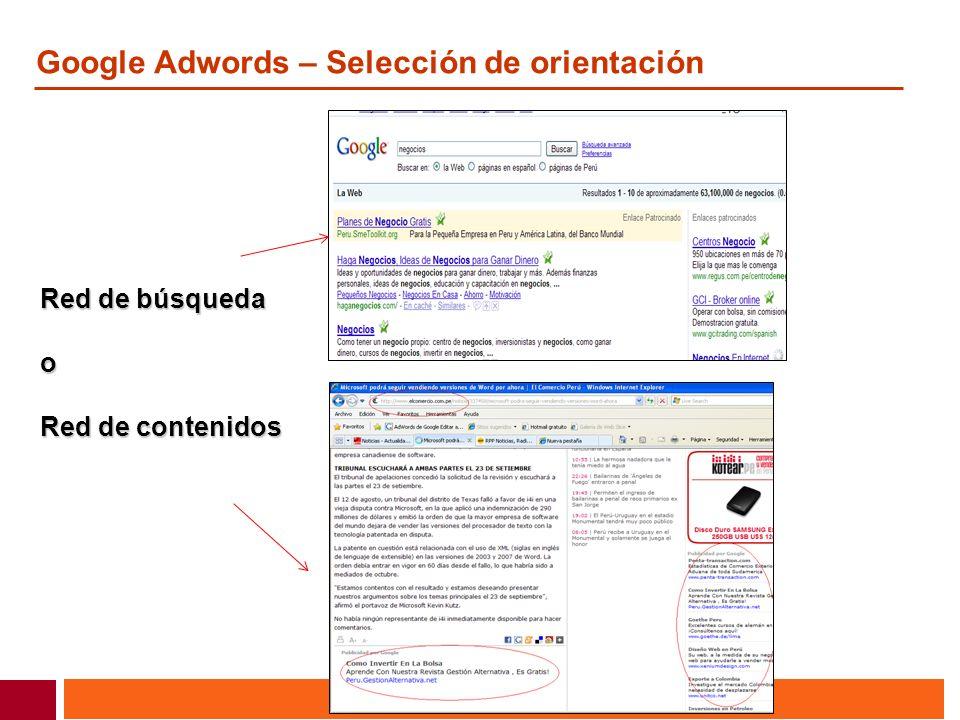 Google Adwords – Selección de orientación Red de búsqueda o Red de contenidos