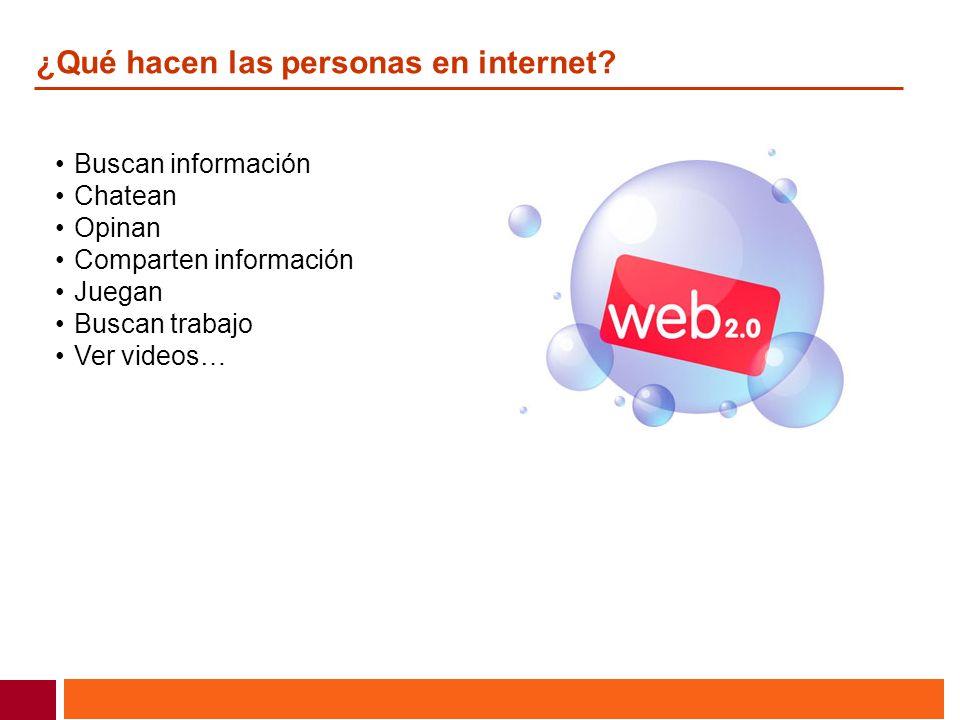 ¿Qué hacen las personas en internet? Buscan información Chatean Opinan Comparten información Juegan Buscan trabajo Ver videos…
