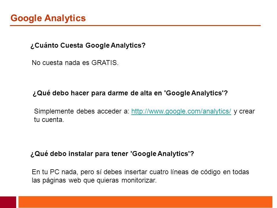 Google Analytics ¿Cuánto Cuesta Google Analytics? No cuesta nada es GRATIS. ¿Qué debo hacer para darme de alta en 'Google Analytics'? Simplemente debe