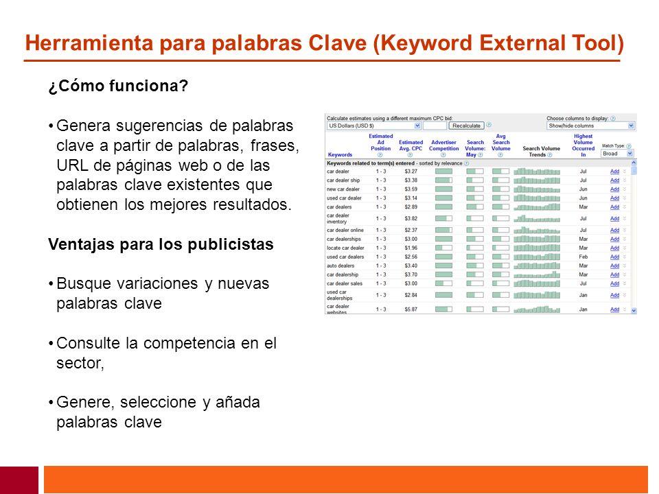 Herramienta para palabras Clave (Keyword External Tool) ¿Cómo funciona? Genera sugerencias de palabras clave a partir de palabras, frases, URL de pági