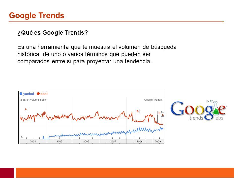 Google Trends ¿Qué es Google Trends? Es una herramienta que te muestra el volumen de búsqueda histórica de uno o varios términos que pueden ser compar