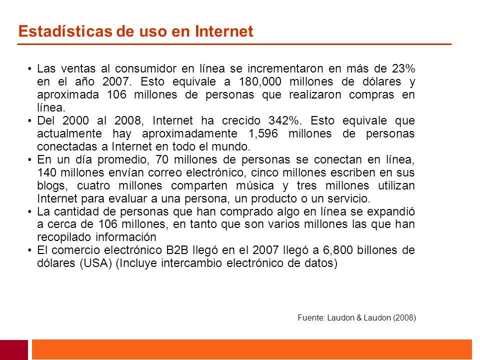 Estadísticas de uso en Internet Las ventas al consumidor en línea se incrementaron en más de 23% en el año 2007. Esto equivale a 180,000 millones de d