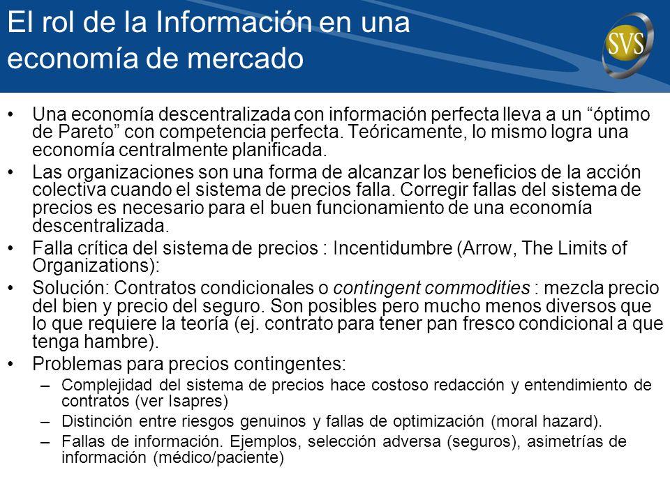 El rol de la Información en una economía de mercado Una economía descentralizada con información perfecta lleva a un óptimo de Pareto con competencia perfecta.
