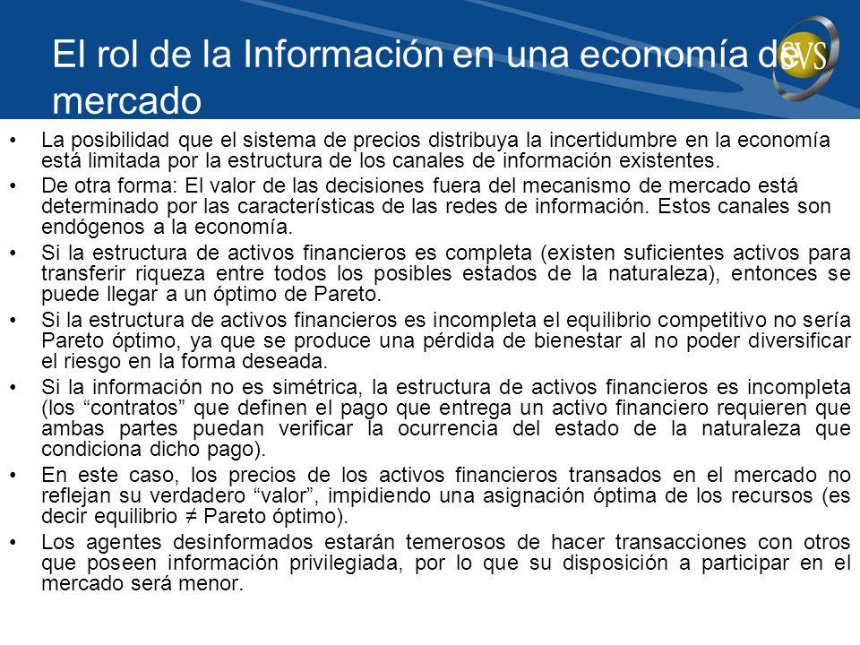 El rol de la Información en una economía de mercado La posibilidad que el sistema de precios distribuya la incertidumbre en la economía está limitada por la estructura de los canales de información existentes.
