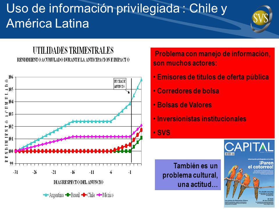 Problema con manejo de información, son muchos actores: Emisores de títulos de oferta pública Corredores de bolsa Bolsas de Valores Inversionistas institucionales SVS También es un problema cultural, una actitud… Uso de información privilegiada : Chile y América Latina