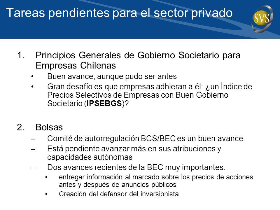 Tareas pendientes para el sector privado 1.Principios Generales de Gobierno Societario para Empresas Chilenas Buen avance, aunque pudo ser antes Gran desafío es que empresas adhieran a él: ¿un Índice de Precios Selectivos de Empresas con Buen Gobierno Societario (IPSEBGS).