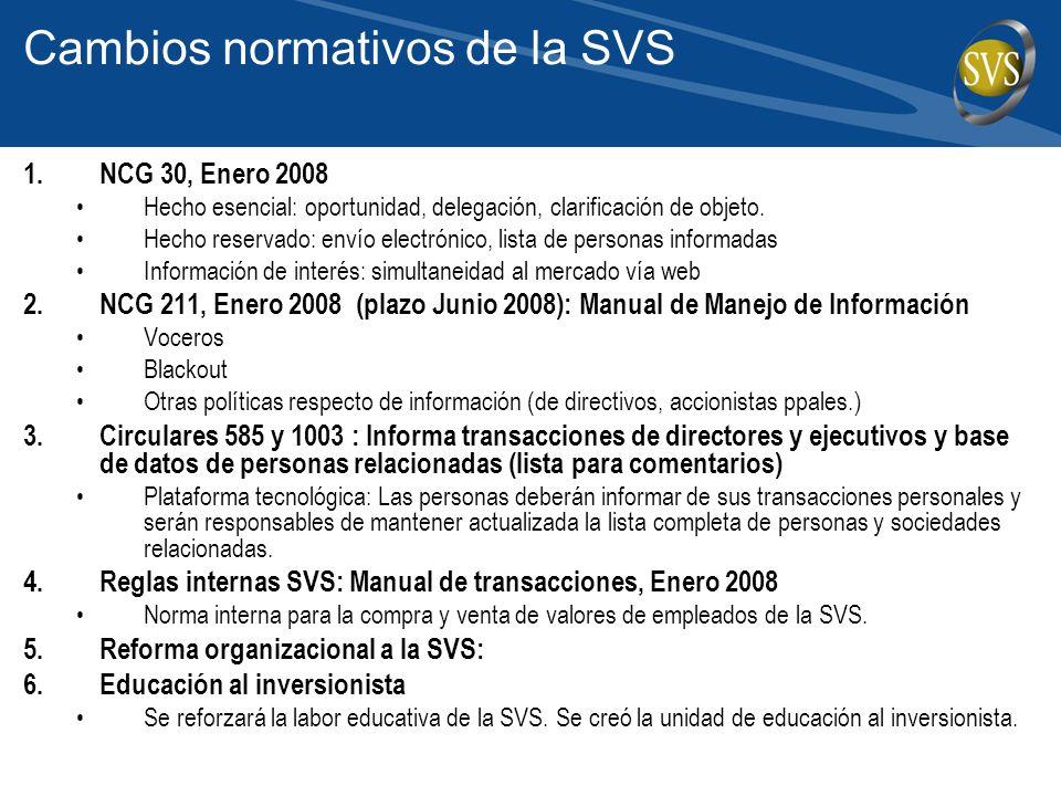Cambios normativos de la SVS 1.NCG 30, Enero 2008 Hecho esencial: oportunidad, delegación, clarificación de objeto.