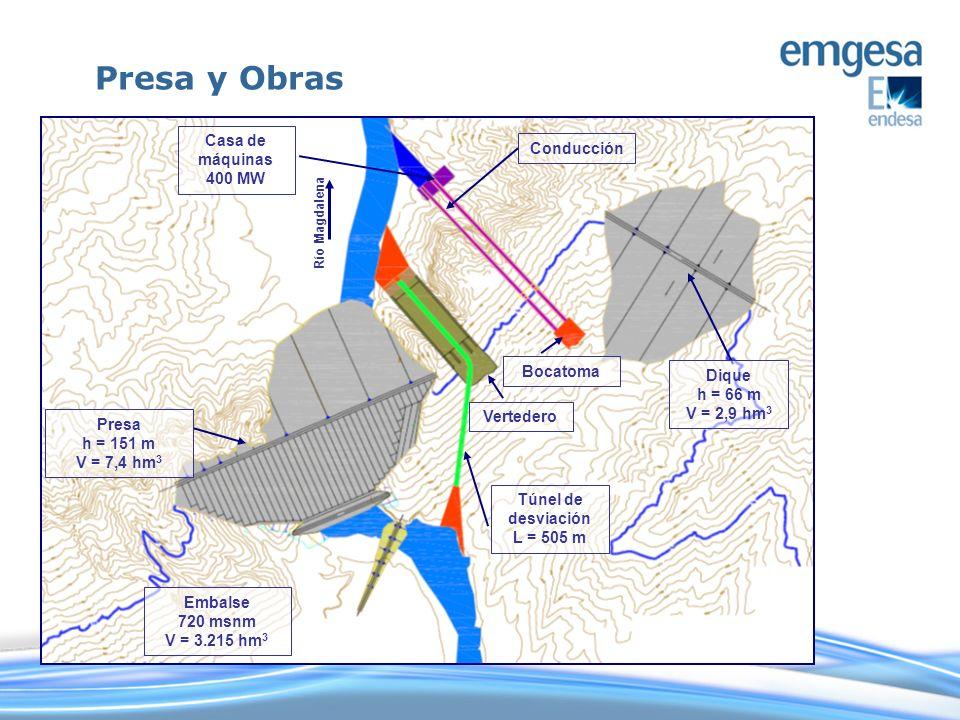 Vertedero Río Magdalena Casa de máquinas 400 MW Bocatoma Conducción Presa h = 151 m V = 7,4 hm 3 Túnel de desviación L = 505 m Dique h = 66 m V = 2,9