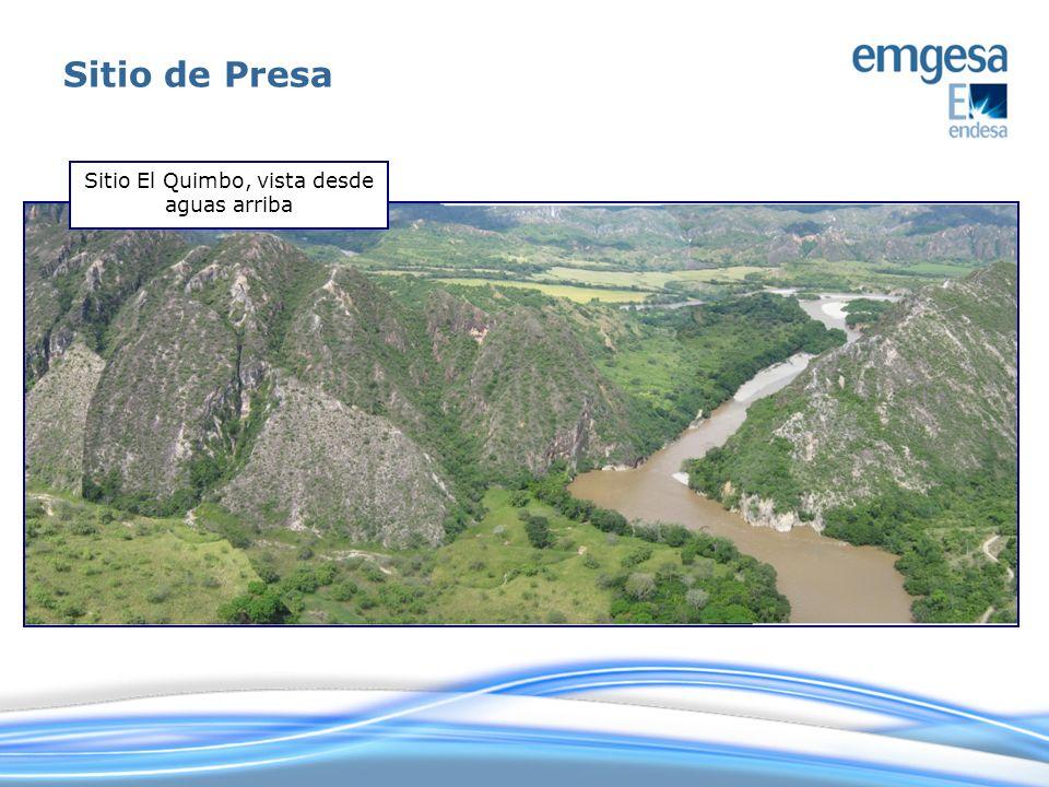 Sitio El Quimbo, vista desde aguas arriba Sitio de Presa