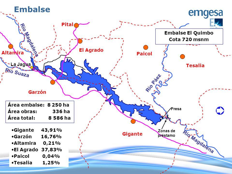 Gigante Tesalia Paicol El Agrado Pital Altamira Garzón Embalse El Quimbo Cota 720 msnm Área embalse: 8 250 ha Área obras: 336 ha Área total: 8 586 ha
