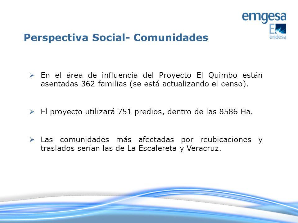 En el área de influencia del Proyecto El Quimbo están asentadas 362 familias (se está actualizando el censo). El proyecto utilizará 751 predios, dentr
