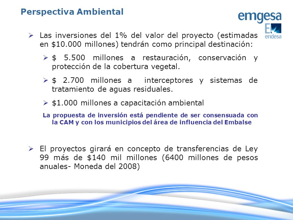 Las inversiones del 1% del valor del proyecto (estimadas en $10.000 millones) tendrán como principal destinación: $ 5.500 millones a restauración, con