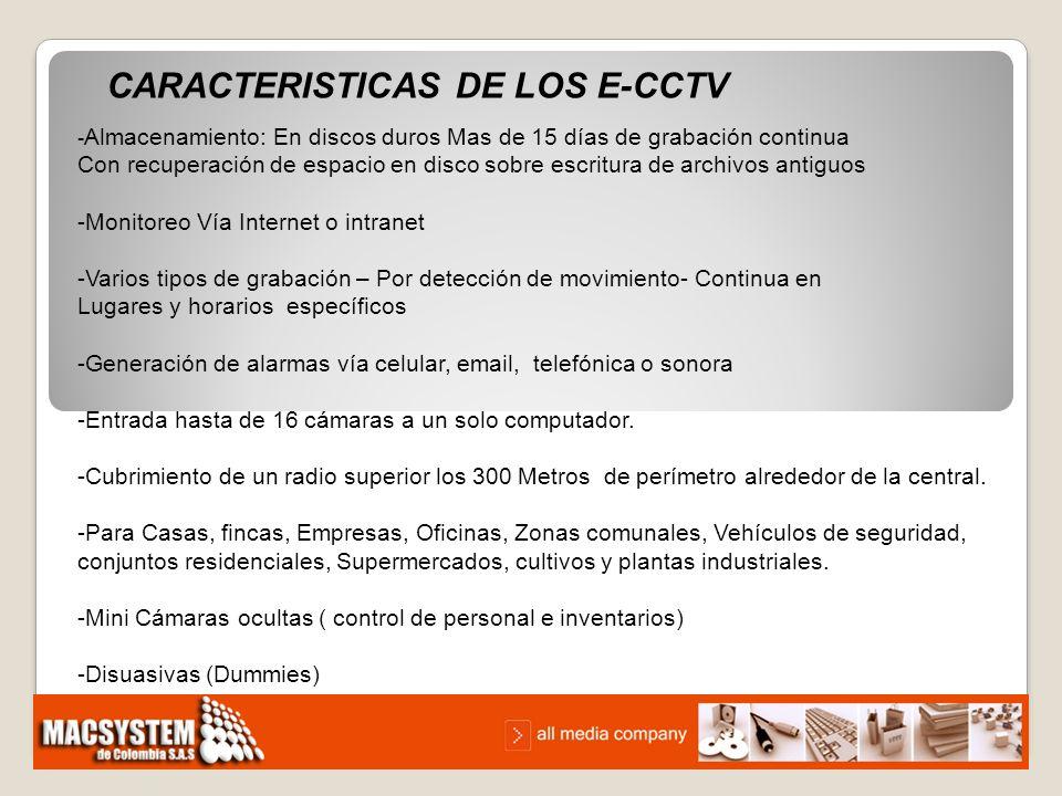 CARACTERISTICAS DE LOS E-CCTV - Almacenamiento: En discos duros Mas de 15 días de grabación continua Con recuperación de espacio en disco sobre escrit