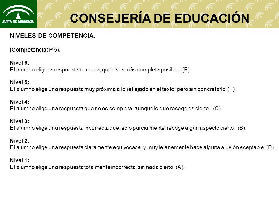 CONSEJERÍA DE EDUCACIÓN NIVELES DE COMPETENCIA. (Competencia: P 5). Nivel 6: El alumno elige la respuesta correcta, que es la más completa posible. (E