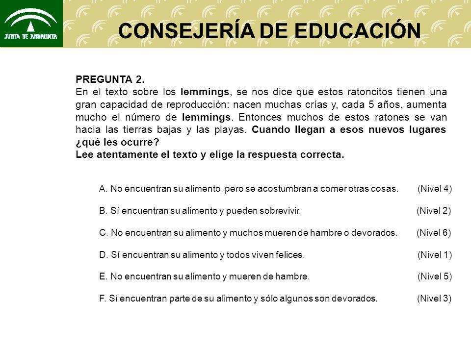 CONSEJERÍA DE EDUCACIÓN NIVELES DE COMPETENCIA.(Competencia: P 5).
