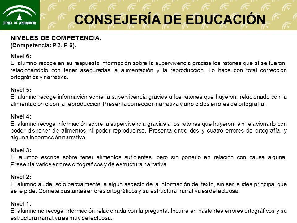 CONSEJERÍA DE EDUCACIÓN NIVELES DE COMPETENCIA. (Competencia: P 3, P 6). Nivel 6: El alumno recoge en su respuesta información sobre la supervivencia