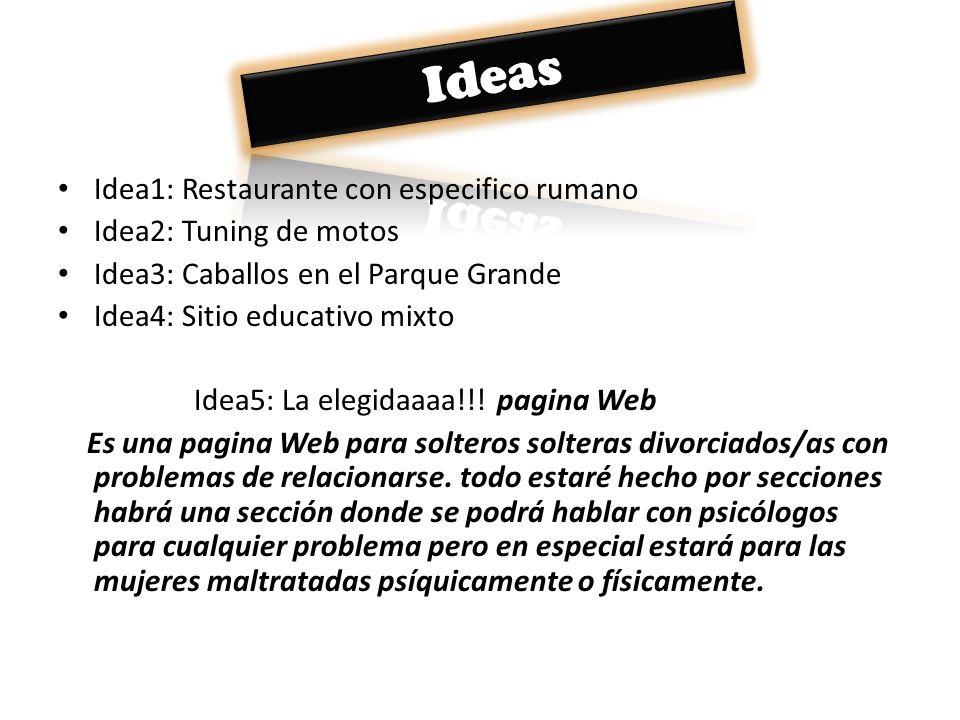 Idea1: Restaurante con especifico rumano Idea2: Tuning de motos Idea3: Caballos en el Parque Grande Idea4: Sitio educativo mixto Idea5: La elegidaaaa!
