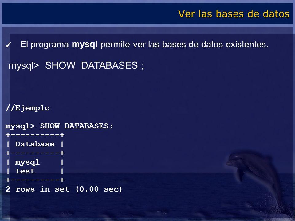 El programa mysql permite ver las bases de datos existentes. mysql> SHOW DATABASES ; //Ejemplo mysql> SHOW DATABASES; +----------+ | Database | +-----
