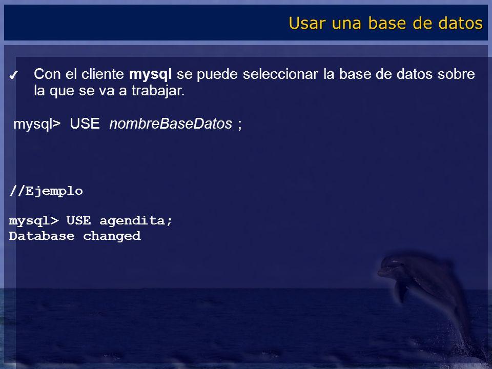 Con el cliente mysql se puede seleccionar la base de datos sobre la que se va a trabajar. mysql> USE nombreBaseDatos ; //Ejemplo mysql> USE agendita;