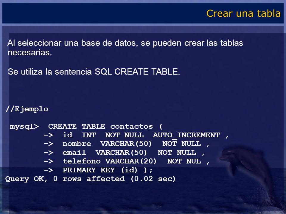 Al seleccionar una base de datos, se pueden crear las tablas necesarias. Se utiliza la sentencia SQL CREATE TABLE. //Ejemplo mysql> CREATE TABLE conta
