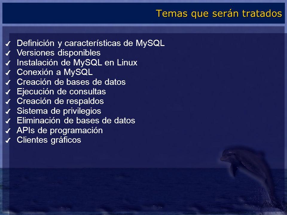 Definición y características de MySQL Versiones disponibles Instalación de MySQL en Linux Conexión a MySQL Creación de bases de datos Ejecución de con