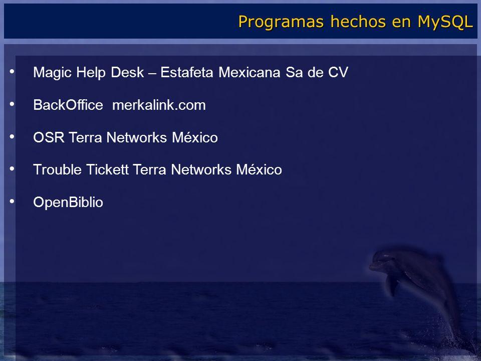 Magic Help Desk – Estafeta Mexicana Sa de CV BackOffice merkalink.com OSR Terra Networks México Trouble Tickett Terra Networks México OpenBiblio Progr