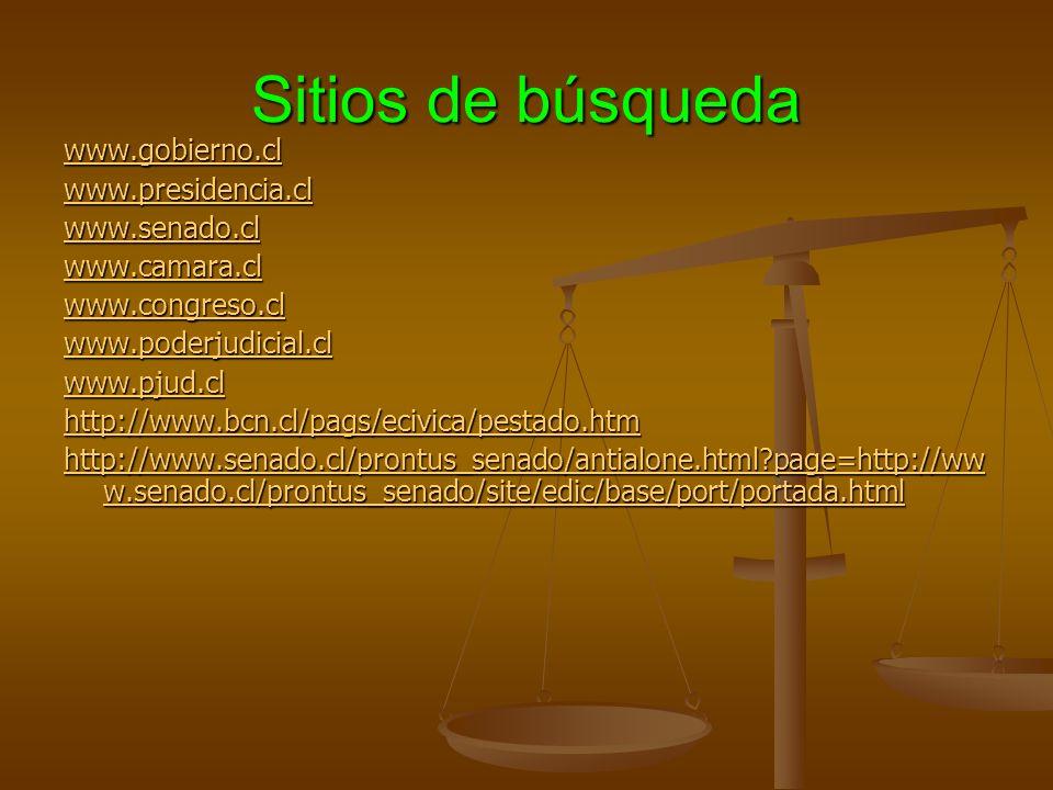 Sitios de búsqueda www.gobierno.cl www.presidencia.cl www.senado.cl www.camara.cl www.congreso.cl www.poderjudicial.cl www.pjud.cl http://www.bcn.cl/pags/ecivica/pestado.htm http://www.senado.cl/prontus_senado/antialone.html?page=http://ww w.senado.cl/prontus_senado/site/edic/base/port/portada.html http://www.senado.cl/prontus_senado/antialone.html?page=http://ww w.senado.cl/prontus_senado/site/edic/base/port/portada.html