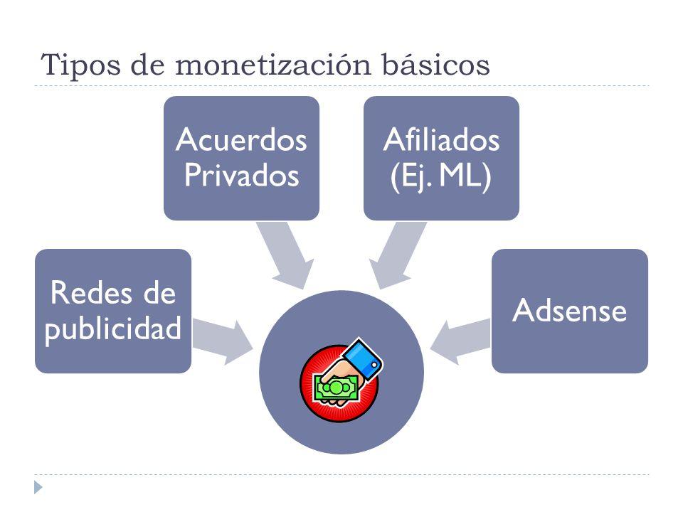 Tipos de monetización básicos Redes de publicidad Acuerdos Privados Afiliados (Ej. ML) Adsense