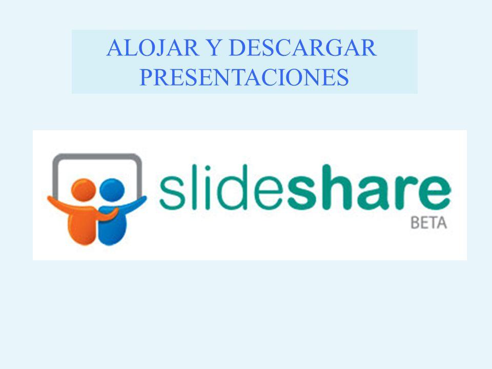Slideshare es una aplicación web 2.0 a semejanza de youtube pero para alojar nuestras presentaciones en gran número de formatos: Presentaciones: pdf, ppt, pps, pptx, ppsx.