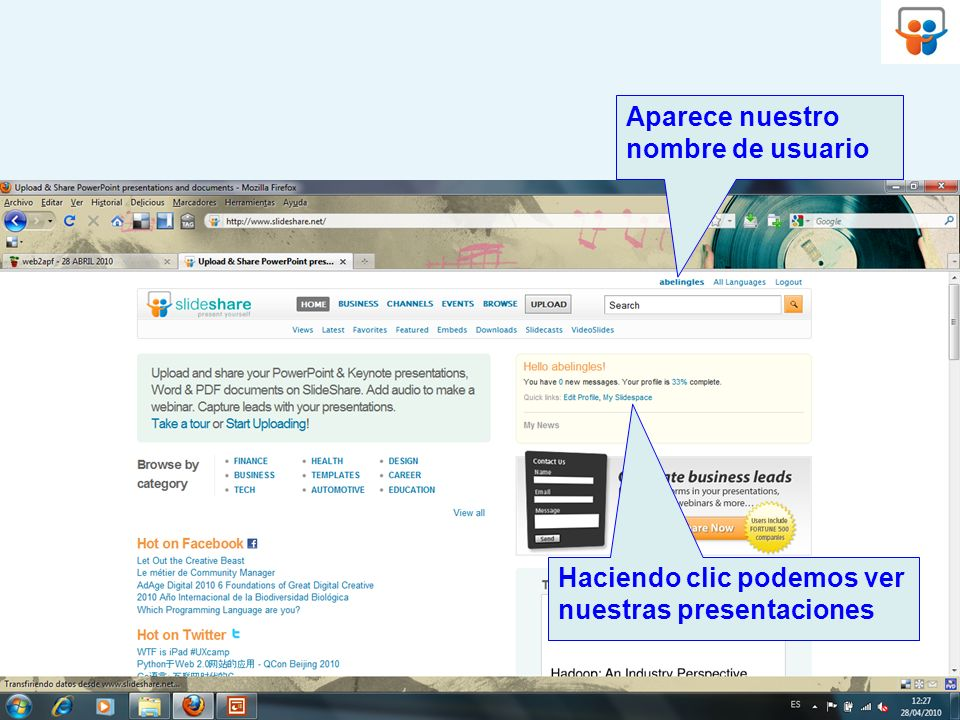 Haciendo clic podemos ver nuestras presentaciones Aparece nuestro nombre de usuario