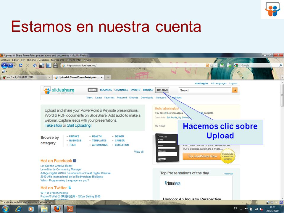 Hacemos clic sobre Browse and select files