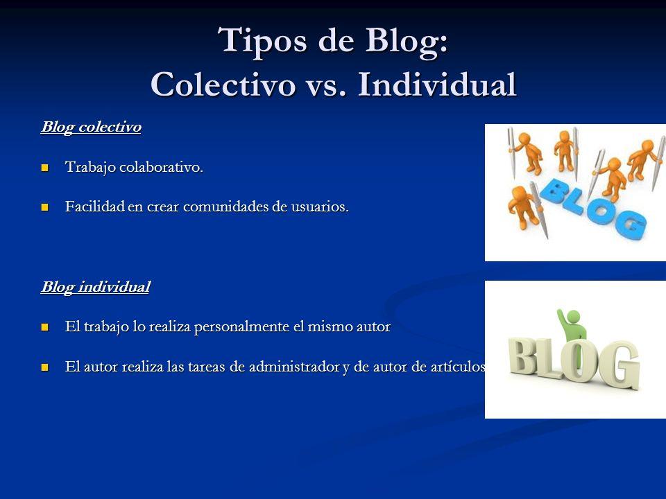 Tipos de Blog: Colectivo vs. Individual Blog colectivo Trabajo colaborativo.
