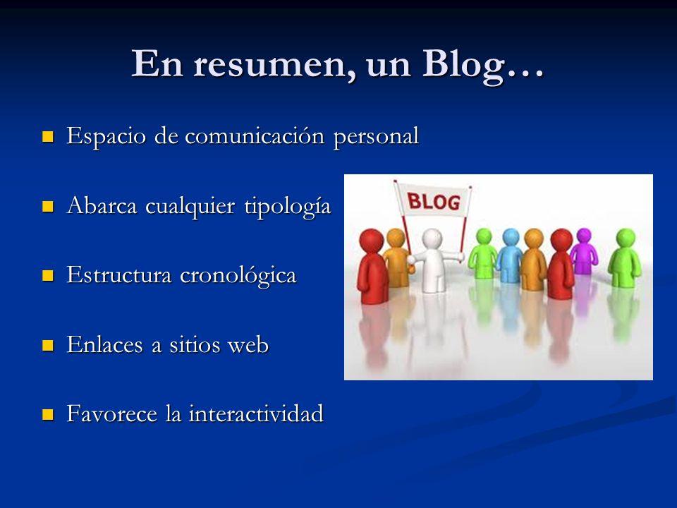 En resumen, un Blog… Espacio de comunicación personal Espacio de comunicación personal Abarca cualquier tipología Abarca cualquier tipología Estructura cronológica Estructura cronológica Enlaces a sitios web Enlaces a sitios web Favorece la interactividad Favorece la interactividad