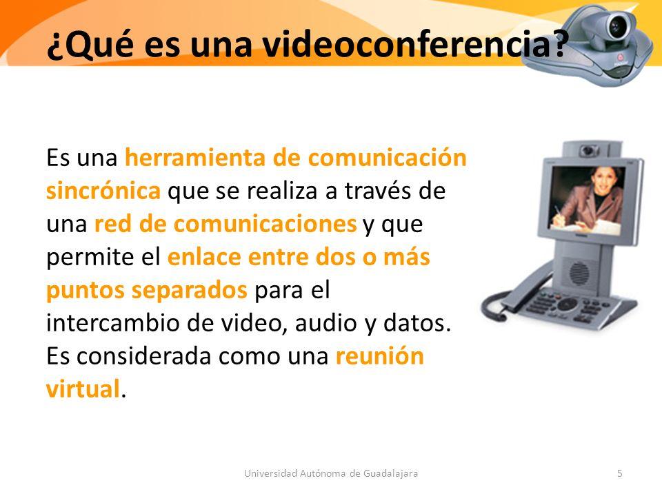 Es una herramienta de comunicación sincrónica que se realiza a través de una red de comunicaciones y que permite el enlace entre dos o más puntos separados para el intercambio de video, audio y datos.