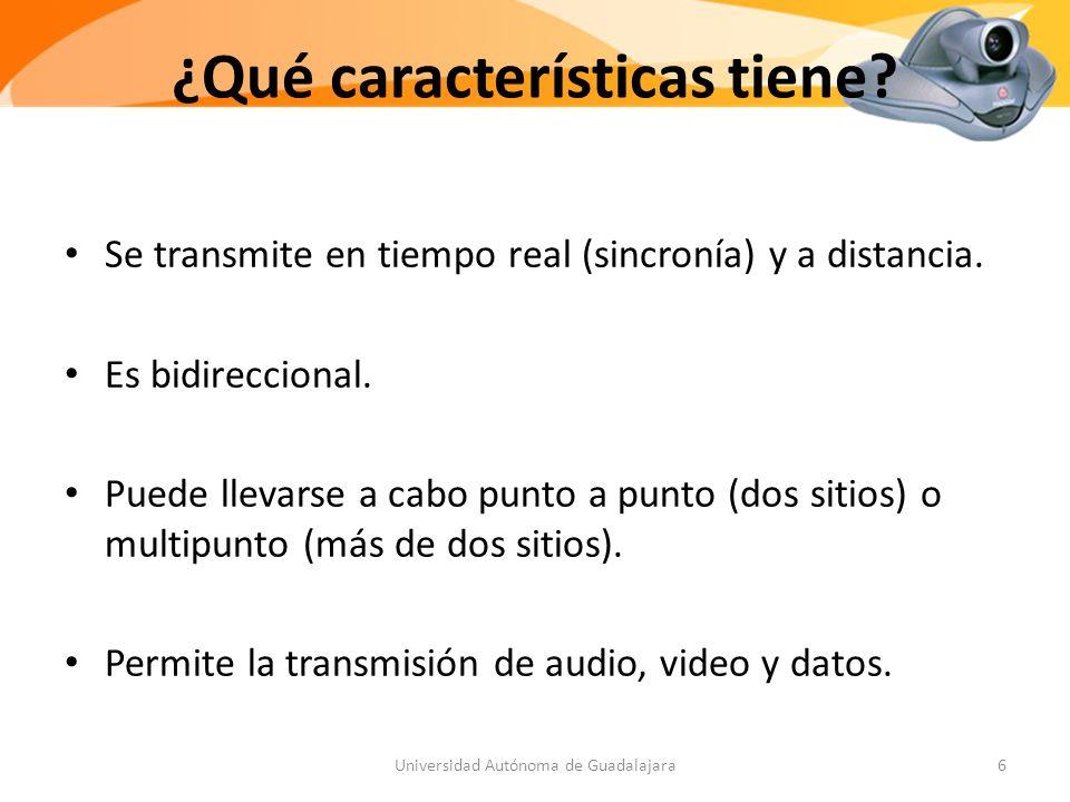 ¿Qué características tiene.Se transmite en tiempo real (sincronía) y a distancia.
