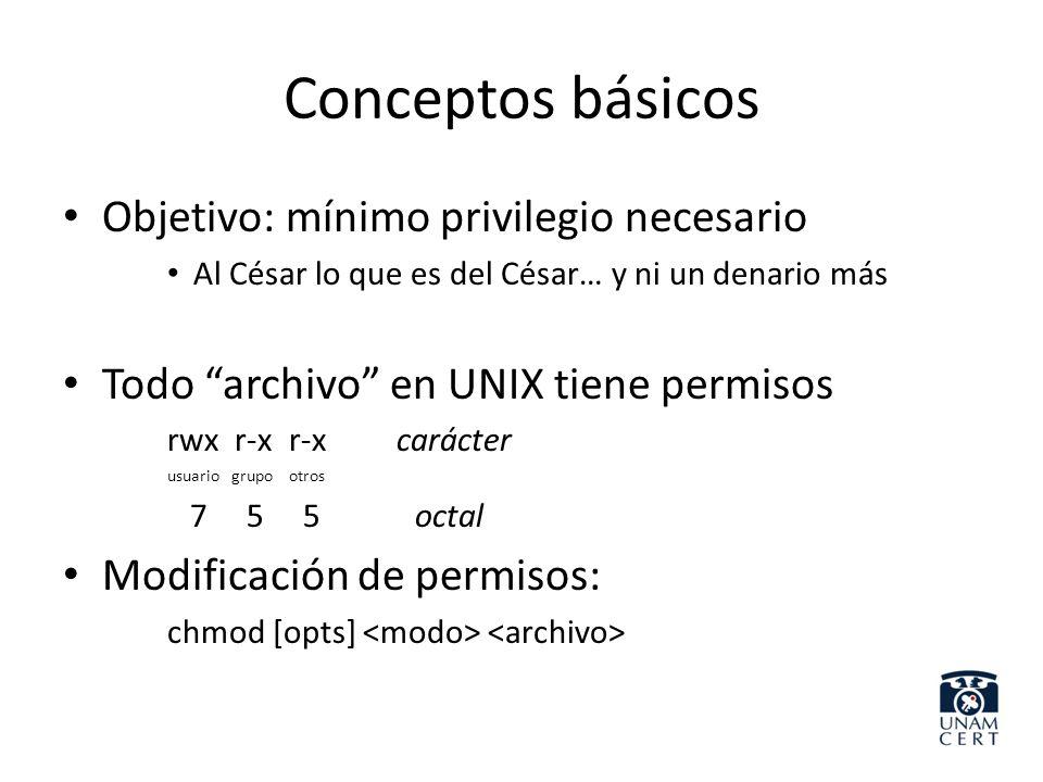 Conceptos básicos Objetivo: mínimo privilegio necesario Al César lo que es del César… y ni un denario más Todo archivo en UNIX tiene permisos rwx r-x