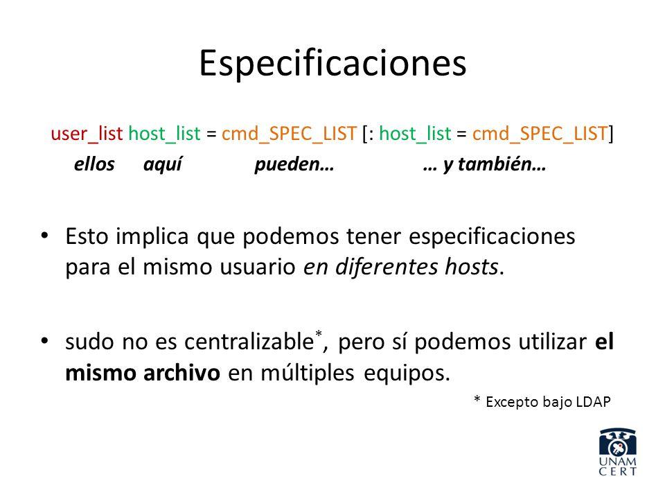 Especificaciones user_list host_list = cmd_SPEC_LIST [: host_list = cmd_SPEC_LIST] ellos aquí pueden… … y también… Esto implica que podemos tener espe