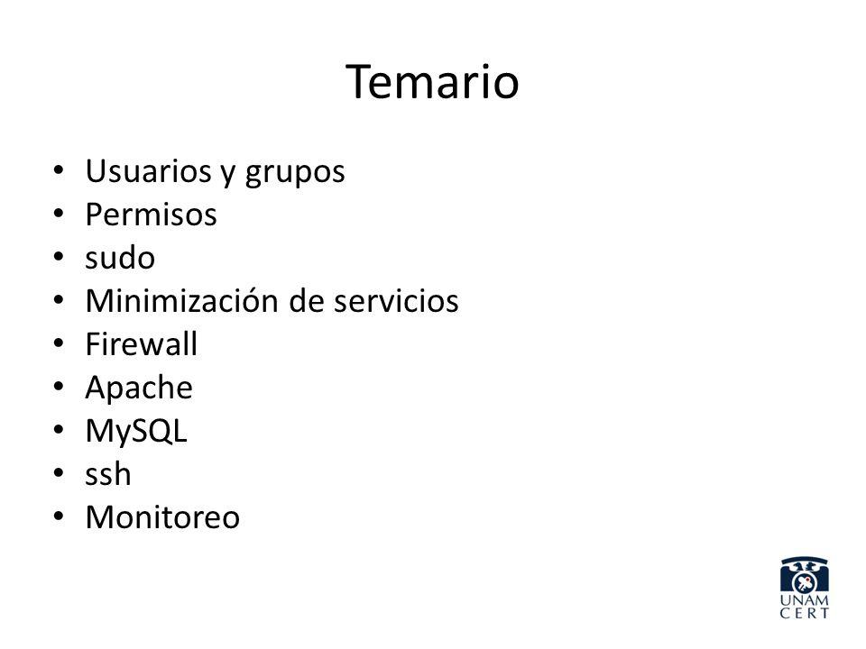 Temario Usuarios y grupos Permisos sudo Minimización de servicios Firewall Apache MySQL ssh Monitoreo