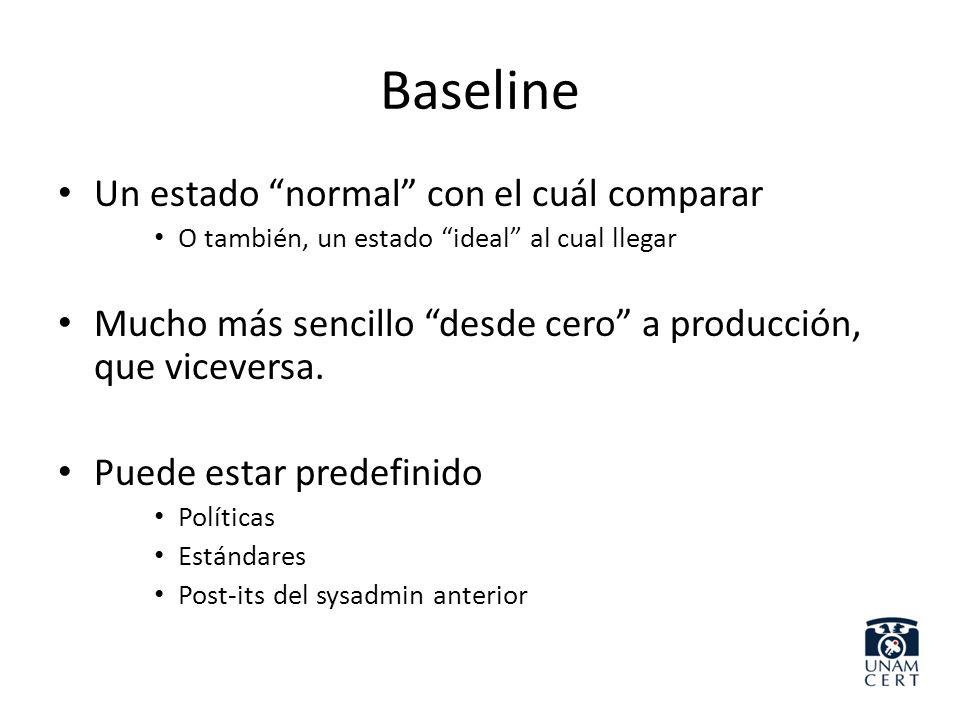 Baseline Un estado normal con el cuál comparar O también, un estado ideal al cual llegar Mucho más sencillo desde cero a producción, que viceversa. Pu