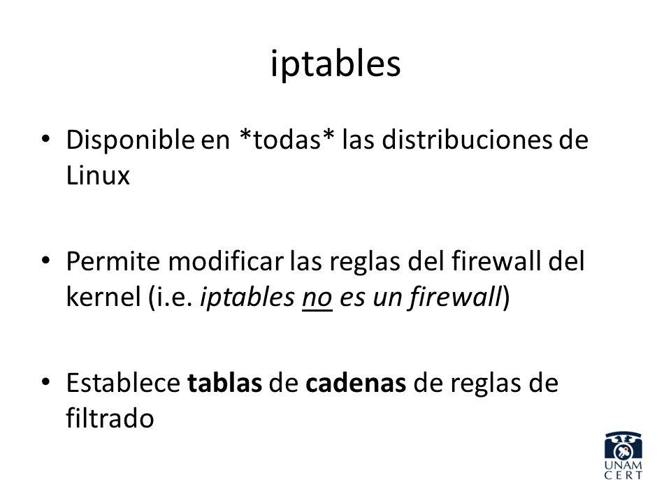 iptables Disponible en *todas* las distribuciones de Linux Permite modificar las reglas del firewall del kernel (i.e. iptables no es un firewall) Esta
