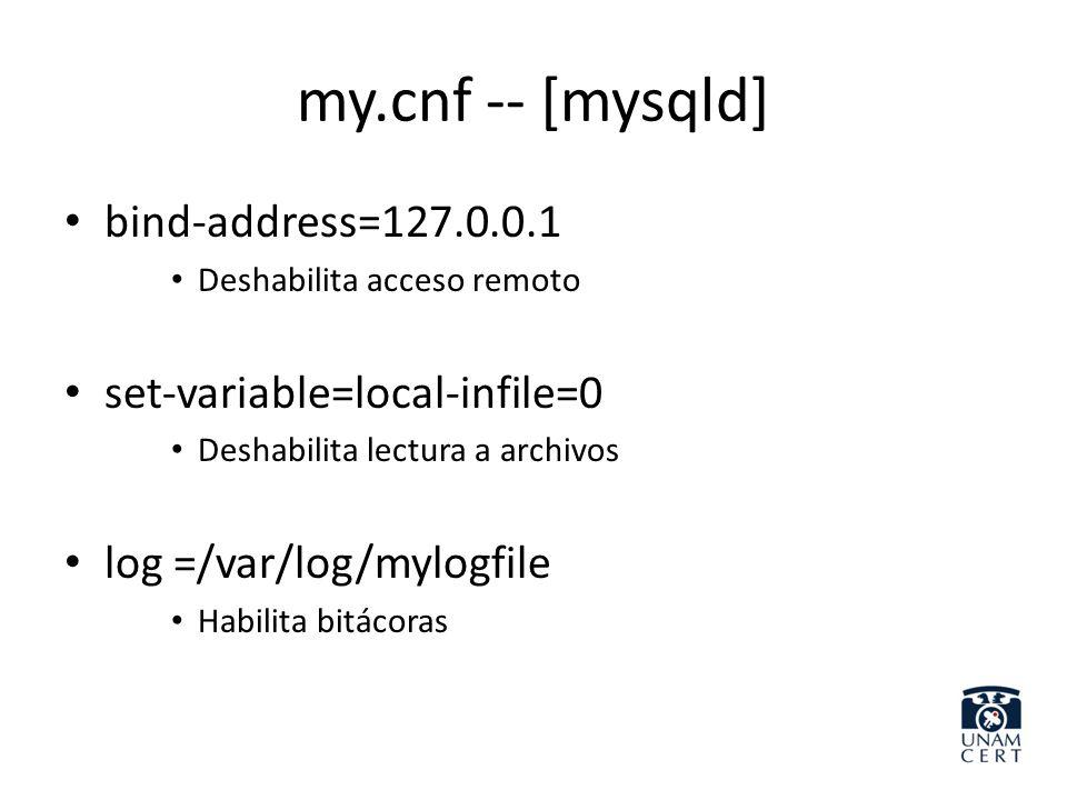 my.cnf -- [mysqld] bind-address=127.0.0.1 Deshabilita acceso remoto set-variable=local-infile=0 Deshabilita lectura a archivos log =/var/log/mylogfile