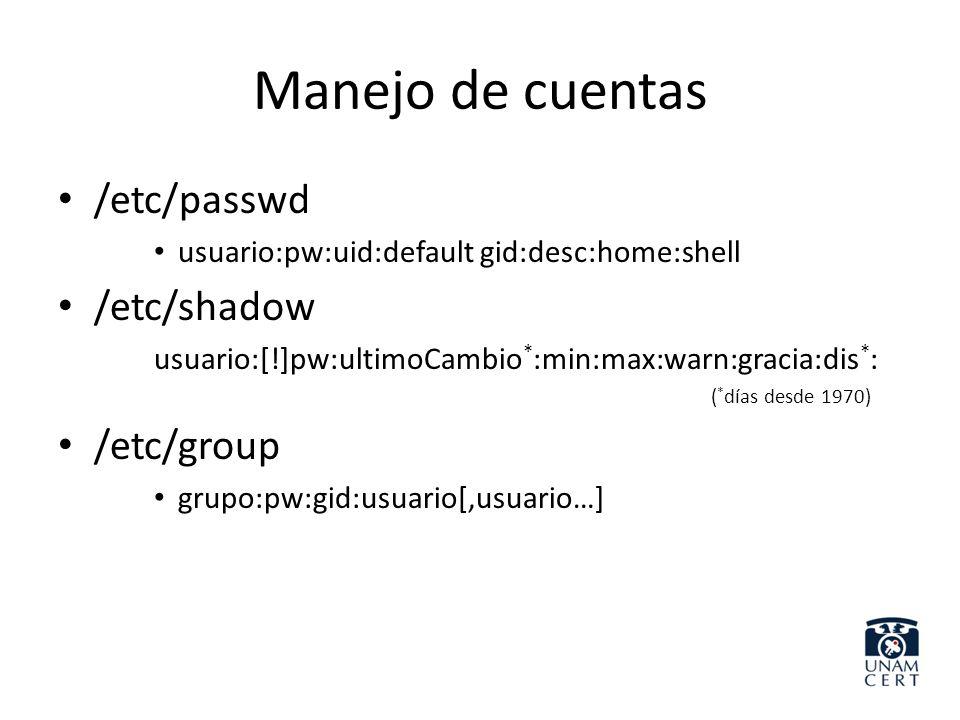 Manejo de cuentas /etc/passwd usuario:pw:uid:default gid:desc:home:shell /etc/shadow usuario:[!]pw:ultimoCambio * :min:max:warn:gracia:dis * : ( * día