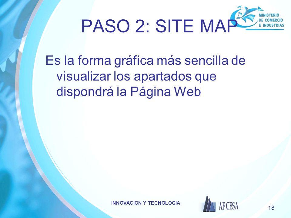 INNOVACION Y TECNOLOGIA 18 PASO 2: SITE MAP Es la forma gráfica más sencilla de visualizar los apartados que dispondrá la Página Web