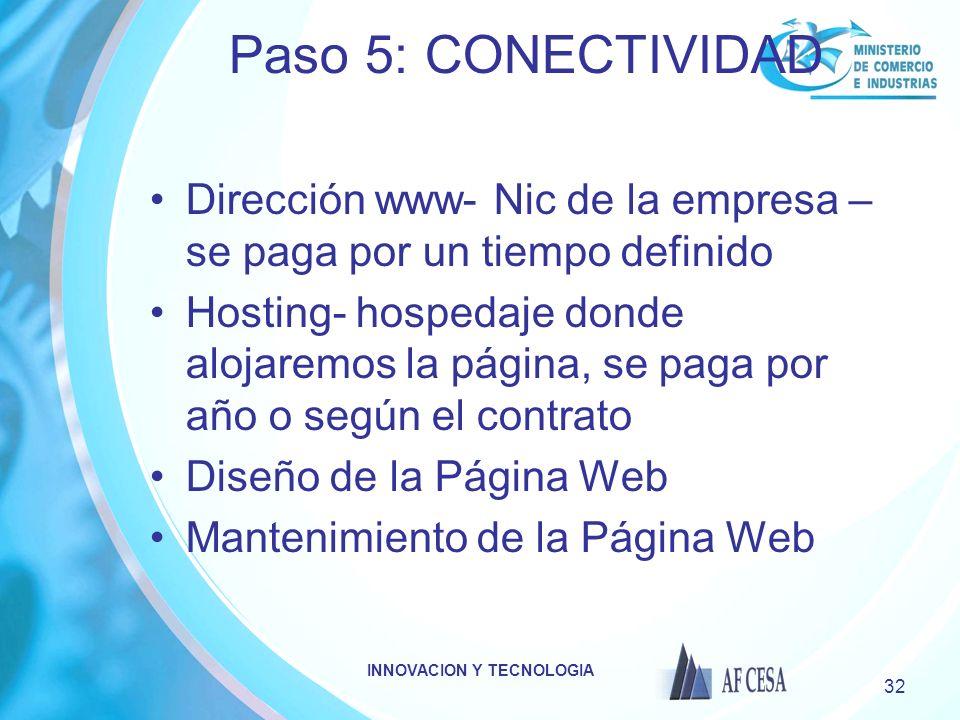 INNOVACION Y TECNOLOGIA 32 Paso 5: CONECTIVIDAD Dirección www- Nic de la empresa – se paga por un tiempo definido Hosting- hospedaje donde alojaremos
