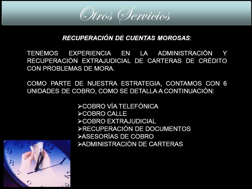 RECUPERACIÓN DE CUENTAS MOROSAS: TENEMOS EXPERIENCIA EN LA ADMINISTRACIÓN Y RECUPERACIÓN EXTRAJUDICIAL DE CARTERAS DE CRÉDITO CON PROBLEMAS DE MORA.
