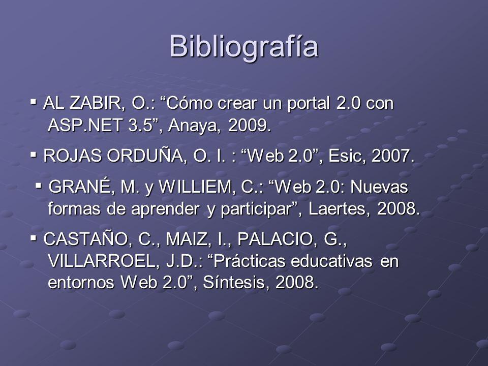 Bibliografía AL ZABIR, O.: Cómo crear un portal 2.0 con ASP.NET 3.5, Anaya, 2009. AL ZABIR, O.: Cómo crear un portal 2.0 con ASP.NET 3.5, Anaya, 2009.