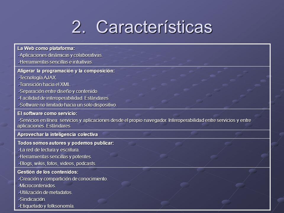 2. Características La Web como plataforma: Aplicaciones dinámicas y colaborativas. Aplicaciones dinámicas y colaborativas. Herramientas sencillas e in
