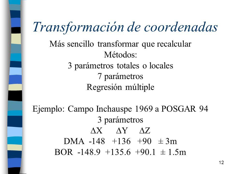 12 Transformación de coordenadas Más sencillo transformar que recalcular Métodos: 3 parámetros totales o locales 7 parámetros Regresión múltiple Ejemp